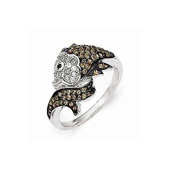 Cheryl M 925 Sterling Silver Black Rhodium and CZ Cubic Zirconia Simulated Diamond Animal Sealife Fish Ring Jewelry Gift