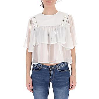 Alberta Ferretti 02061615a0001 Damen's Weiße Baumwollbluse