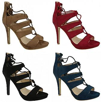 Anne Michelle Womens/Ladies Stiletto High Heel Peep Toe Lace Up Shoes