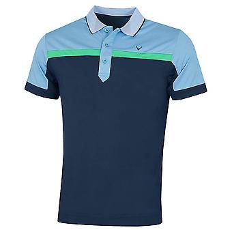 Callaway Golf Mens 2020 Birdseye Kleur Blok Vochtafvoerend Golf Polo Shirt