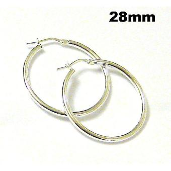 TOC Sterling Silver Round Creole Hoop Earrings 28mm