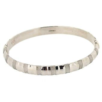 Sterling Silver Polished and Frosted Bangle with Hinge