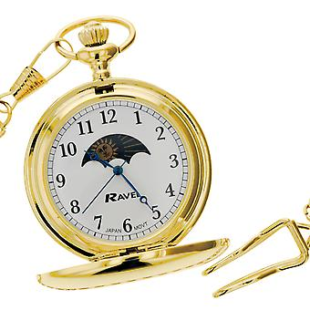 Ravel Gents Pocket Watch GoldTone Sun-Moon White Dial  12
