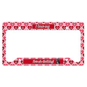 Französische Bulldogge Valentine's Liebe und Herzen Nummernschild Rahmen