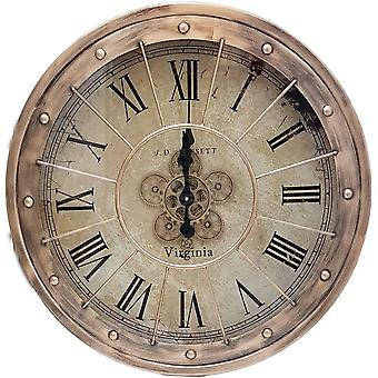 Round 80cm Basset moving cogs wall clock - Copper