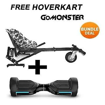 "6.5"" G PRO Black Bluetooth Hoverboard with Go Monster Hoverkart in Camo"