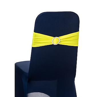 Yellow Plain Stretchable Spandex Chair Sashes With Round Diamante Buckles
