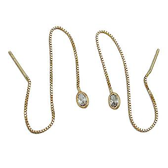 Złote kolczyki 375 serca złote Durchzieher, łańcuch m. sześciennych tlenku cyrkonu 9 KT złoto