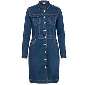 b.young Blue Denim Long Sleeved Dress