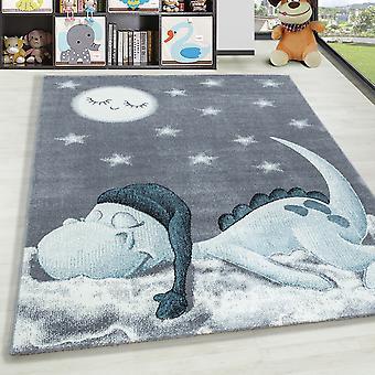 ShortFlor Kids Tapijt Dino Cloud Kwekerij Baby Kamer tapijt zacht grijs blauw