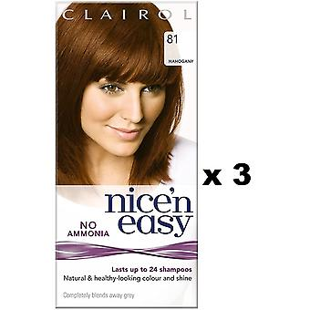 3 x Clairol Nice -apos;n Easy Hair Dye Lasts upto 24 Shampooings (81 acajou)