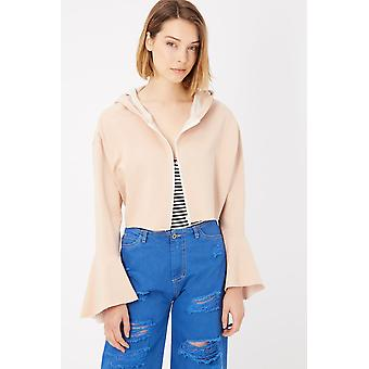 Beige Flared Sleeves Zipped Up Hooded Sweater