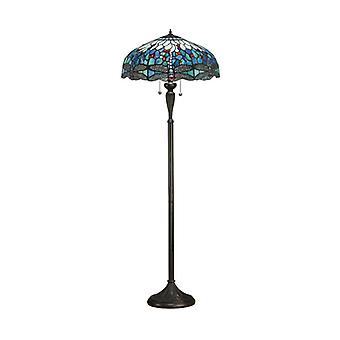 Dragonfly Blue Floor Lamp, Glass And Resin