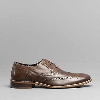 Londres Brogues Gatsby Mens Leather Brogue Shoes Brown