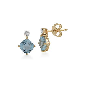 Classic Square Blue Topaz & Diamond Stud Earrings in 9ct Yellow Gold 135E1294059
