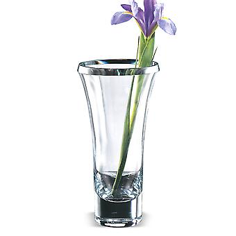 """11"""" Mouth Blown Crystal Thick Walled Beveled Edge Vase"""