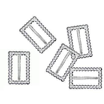 10 Rechteck 15x35mm Diamante Effekt Band Schnalle Slider