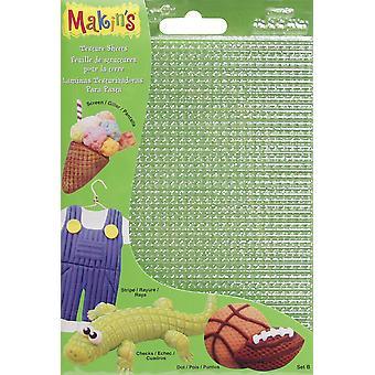 """Makin's Clay Texture Sheets 7""""X5.5"""" 4/Pkg-Set B (Screen, Stripe, Check & Dot)"""