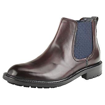 Ted Baker Warkrr Mens Chelsea Boots in Dark Red