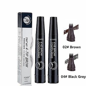 3D Eyebrow Tattoo Pen 4 Fork Tips Fine Sketch Natural Liquid Eyebrow Pencil Waterproof