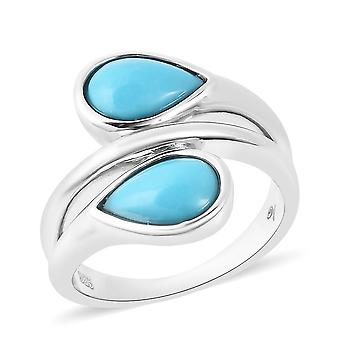 Lucy Q AAA Doornroosje Turquoise Bypass Ring Sterling Zilver, 2.02 Ct