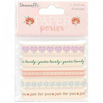 Dovecraft Paper Posies Cotton Ribbons