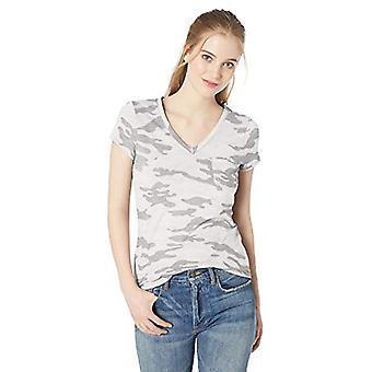 Marke - tägliche Ritual Frauen's leichte gelebte Baumwolltasche V-Ausschnitt T-Shirt, grau Camo, klein