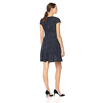 Brand - Lark & Ro Women's Cap Sleeve Faux Wrap Fit and Flare Dress, Navy White Pinstripe, Small