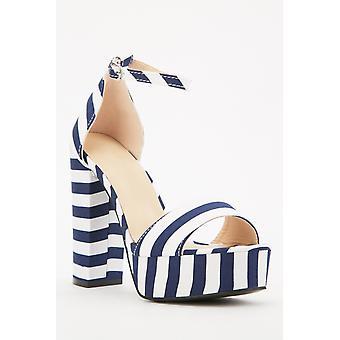 Novelty Stripe Platform Sandals