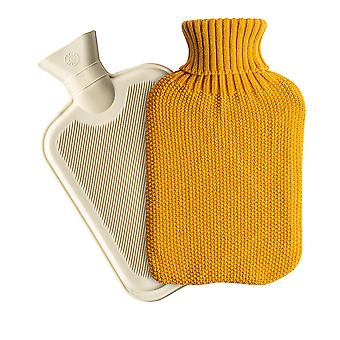 Nicola Spring Hot Water Bottle with Knitted Cover - Classic Short Ribbed Rubber Bottle with Screw Stopper - 2 Litres - Mustard