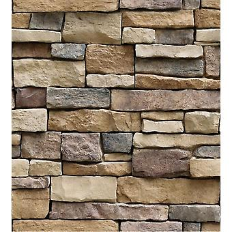 Self-adhesive 3d Rock Motif-wall Stickers Paper For Home Decor