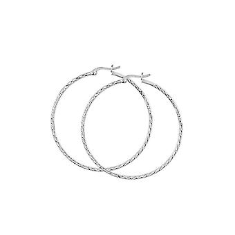 Dew Sterling Silver Set Diamond Cut 50mm Hoop Earrings 66550DC027