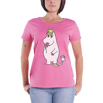 Moomins T Shirt Flower Logo new Official Womens Skinny Fit Pink