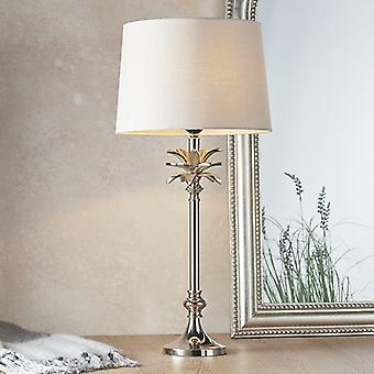 Table Lamp Polished Nickel Plate & Natural Linen 1 Light IP20 - E27