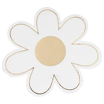 Gold Foiled Daisy Paper Napkin - Easter Party - Baby Shower x 16