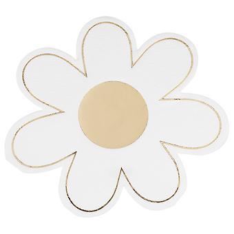 Kulta foliotettu Daisy Paperi lautasliina - Pääsiäinen Party - Baby Shower x 16