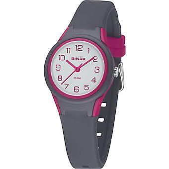 SINAR Youth Watch Kids Wristwatch Analog Quartz Silicone Band XB-47-8 Grey Pink