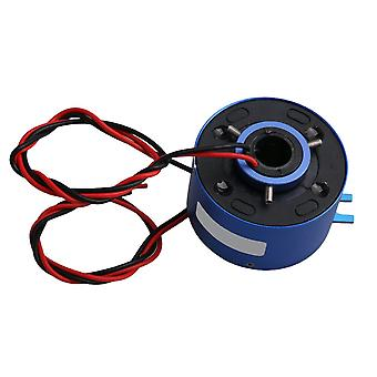 380V 10A 2 Circuits Alloy Capsule Slip Ring 12.7mm Through Hold Dia Blue