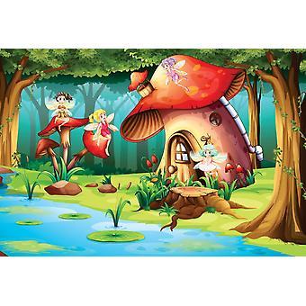 Photo wall mural flying fairies and the mushroom house