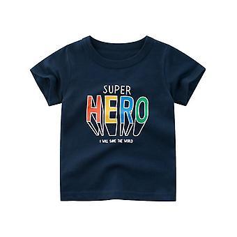 Gyermek pamut rövid ujjú nyári ruhák, print rajzfilm póló