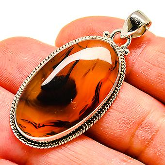 "Montana Agate 925 Sterling Silver Pendant 1 3/4""  - Handmade Boho Vintage Jewelry PD741673"