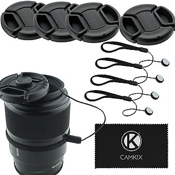 Camkix lens cap bundle - 4 snap-on lens caps for dslr cameras including nikon, canon, sony - 4 lens wom15529