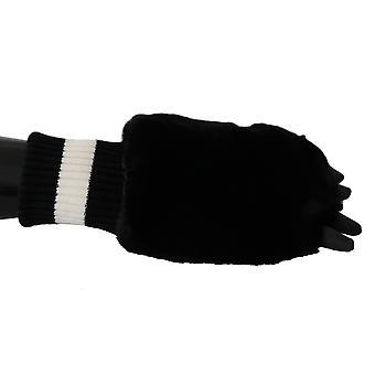 Čierna labka kožušiny pletené elastické zápästie band rukavice