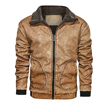 Winter Mens Pu Jacket, Thick Warm Motorcycle Windproof Leather Coat