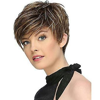 Women's Wig Female Realistic Natural Mixed Color Side Bangs Short Hair Synthetic Wigs