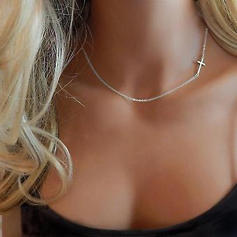 Collane femminili Collana croce d'oro donna Normale creativo maglione retrò creativo
