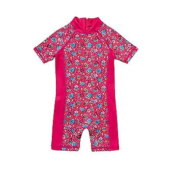 Infant Girl One Piece UPF 50+ Sun Protection S/S Sleeves Zip Swimsuit