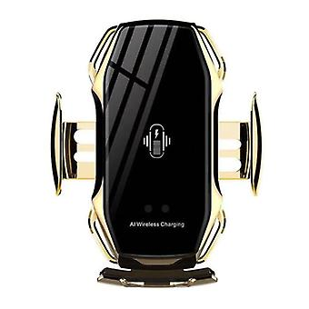 FLOVEME 10W Wireless Qi Car Charger - Airvent Clip Charger Universal Wireless Car Charging Pad Gold