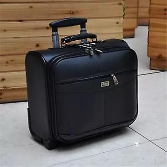 Letrend 16 Inch Multifunction Rolling Luggage Pu Leather Suitcase Wheels Men