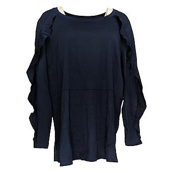 Isaac Mizrahi Live! Dames's Top Ruffle Long Sleeve Blue A343208